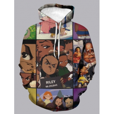 Lovely Stylish Hooded Collar Cartoon Print Multico