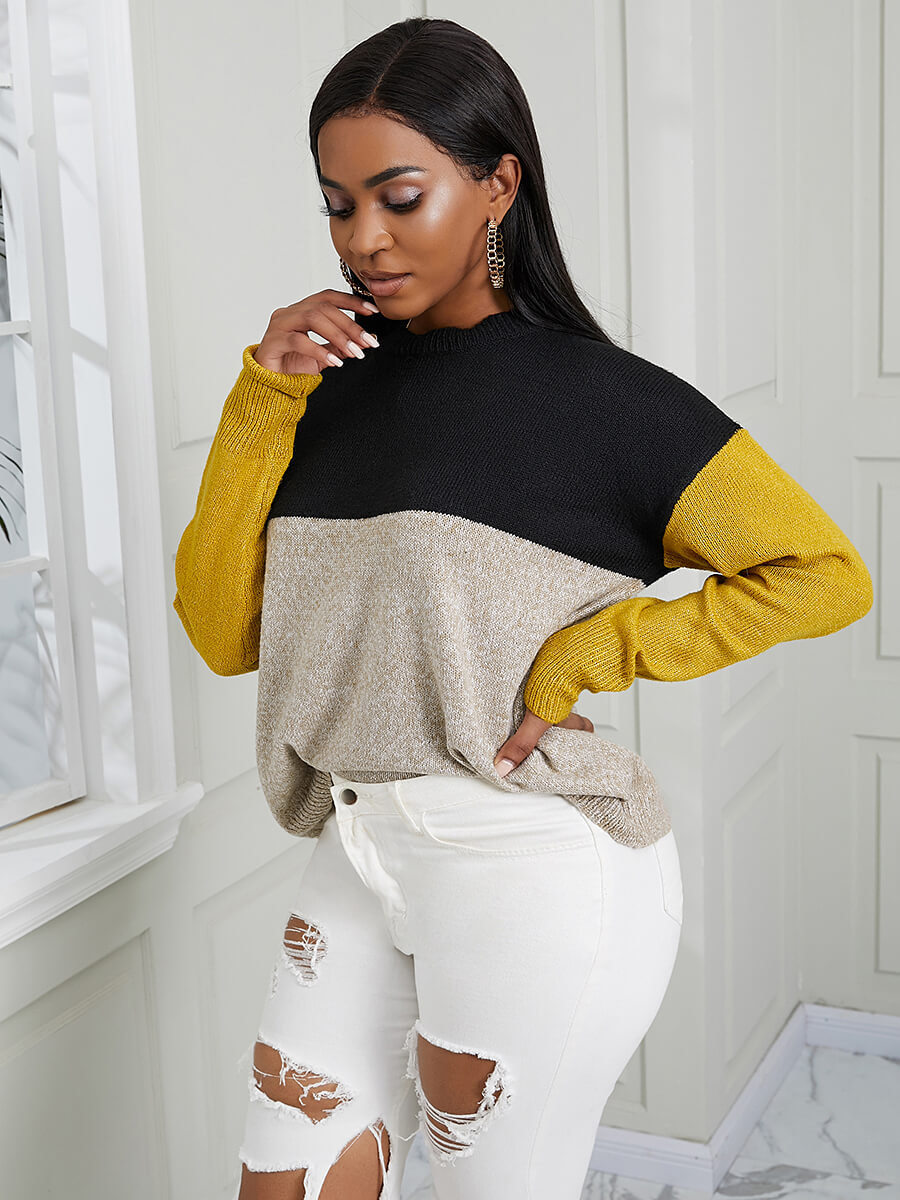 Lovely Casual O Neck Color-lump Patchwwork Yellow