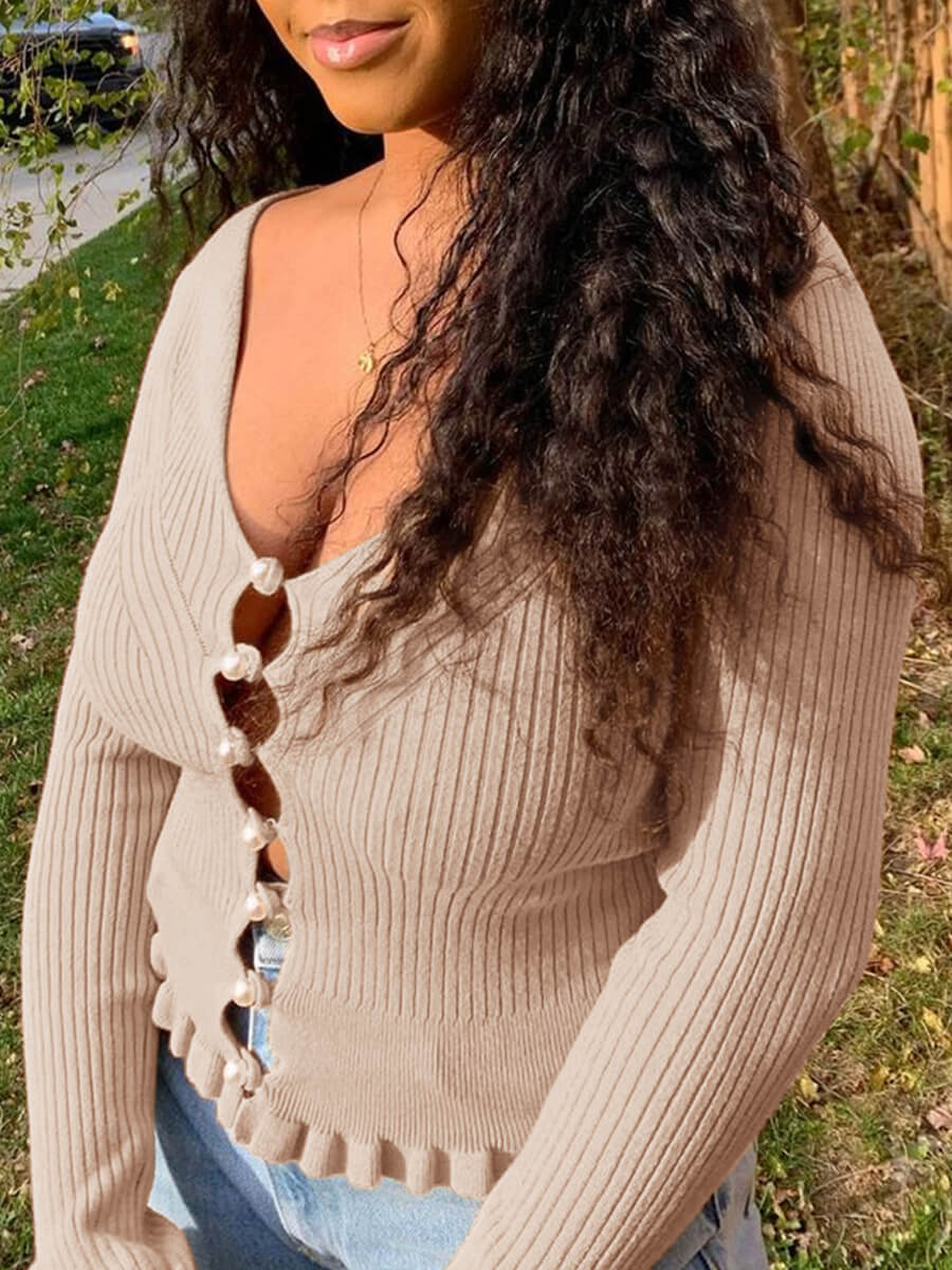 Lovely Sweet U Neck Hollow-out Khaki Sweater