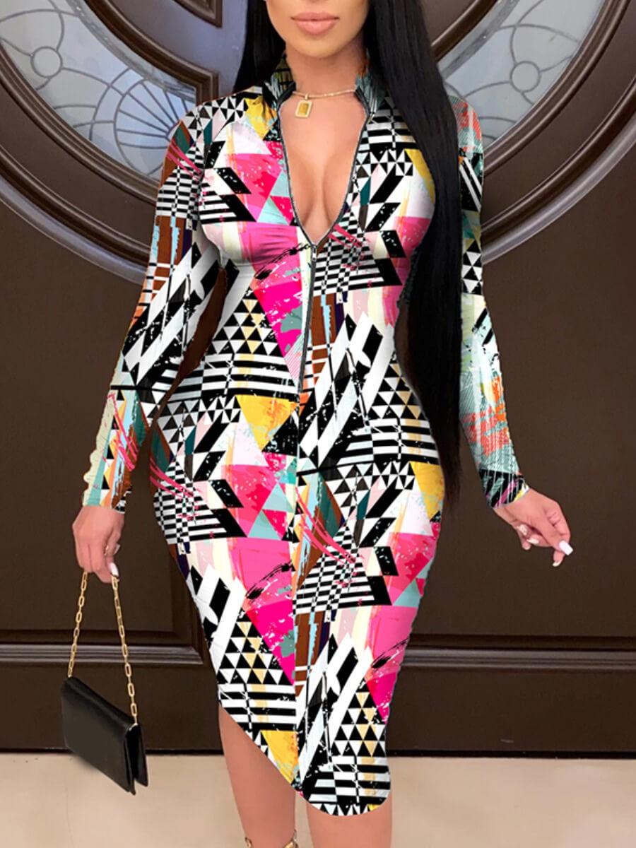 lovelywholesale / LW Lovely Sweet Geometric Print Patchwork Multicolor Knee Length Dress