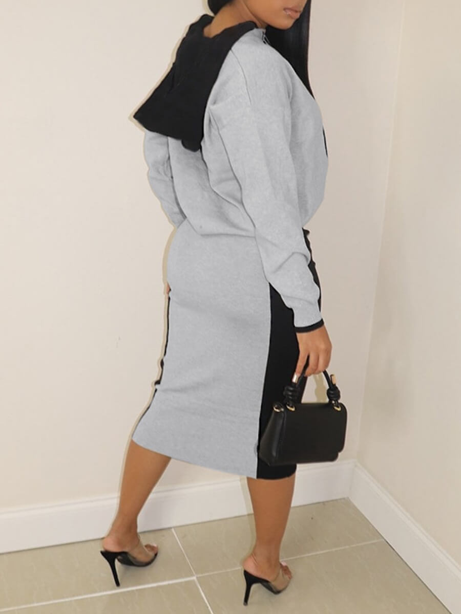 LW Casual Hooded Collar Drawstring Design Patchwork Grey Two Piece Skirt Set