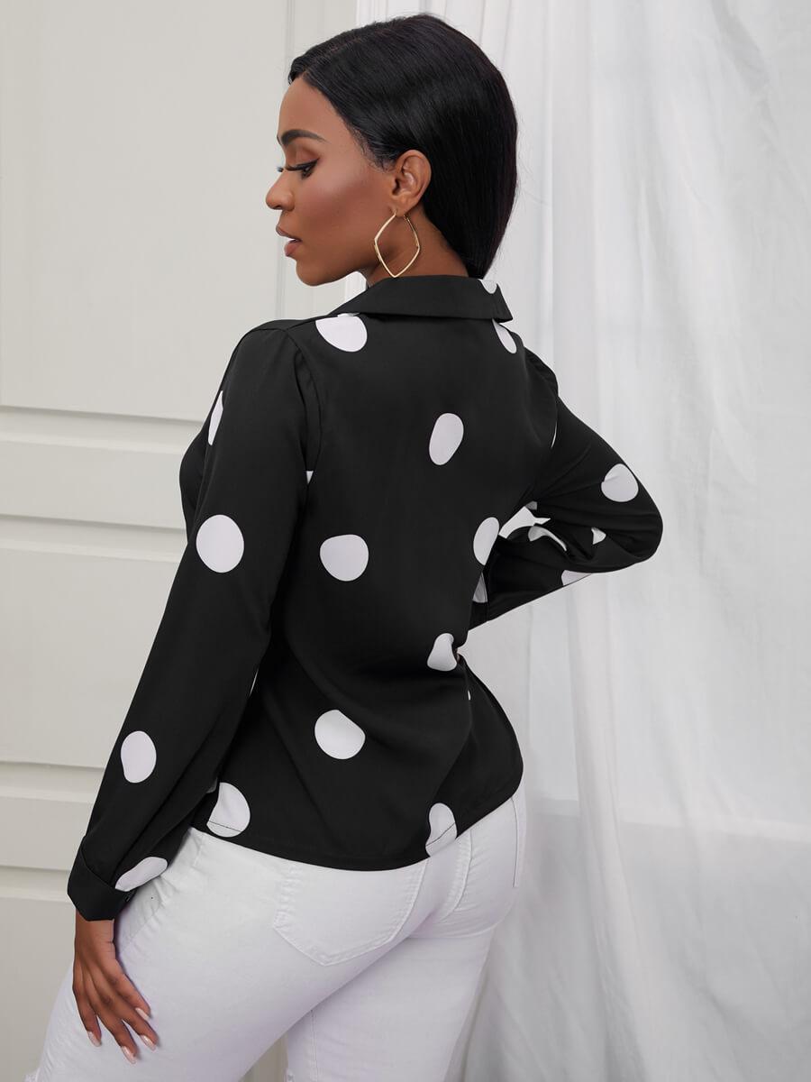 Lovely Formal Dot Print Patchwork Black Blouse