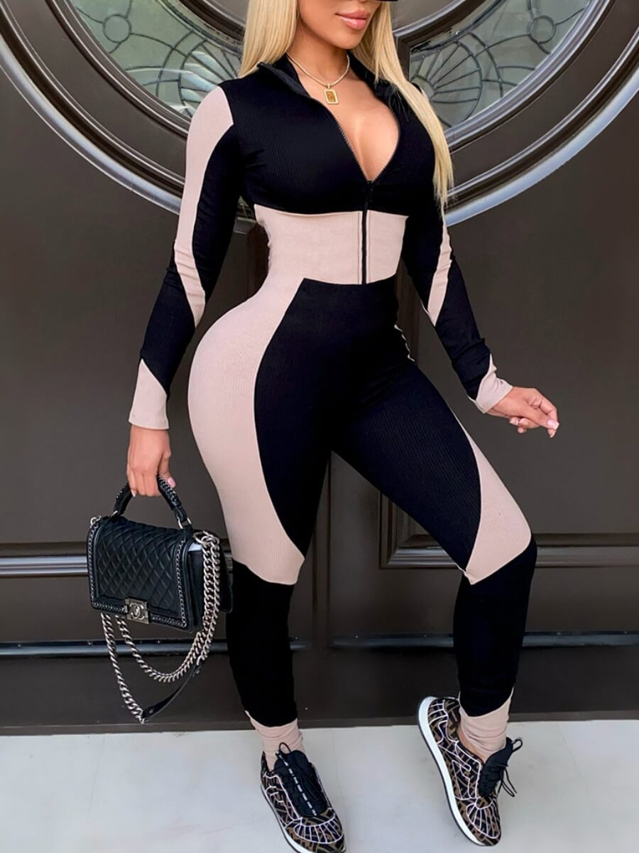 LW Sportswear Color-lump Patchwork Black One-piece Jumpsuit