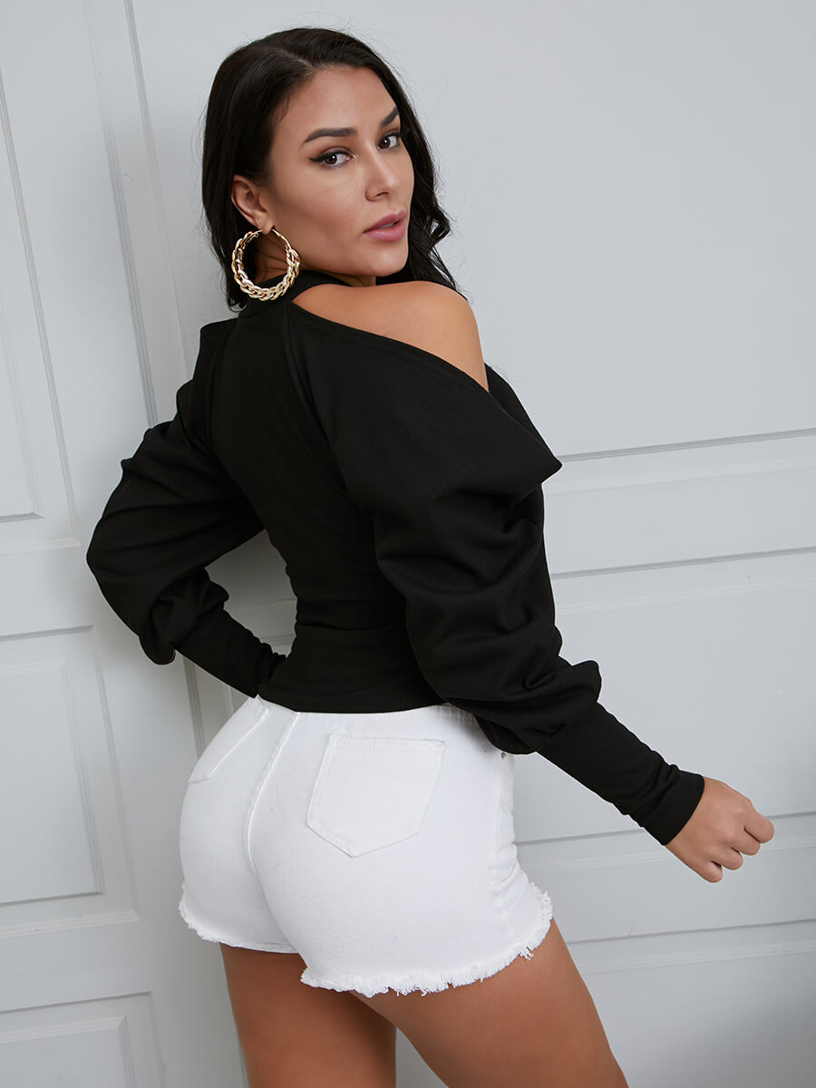 Lovely Sexy Halter Neck Hollow-out Black Blouse