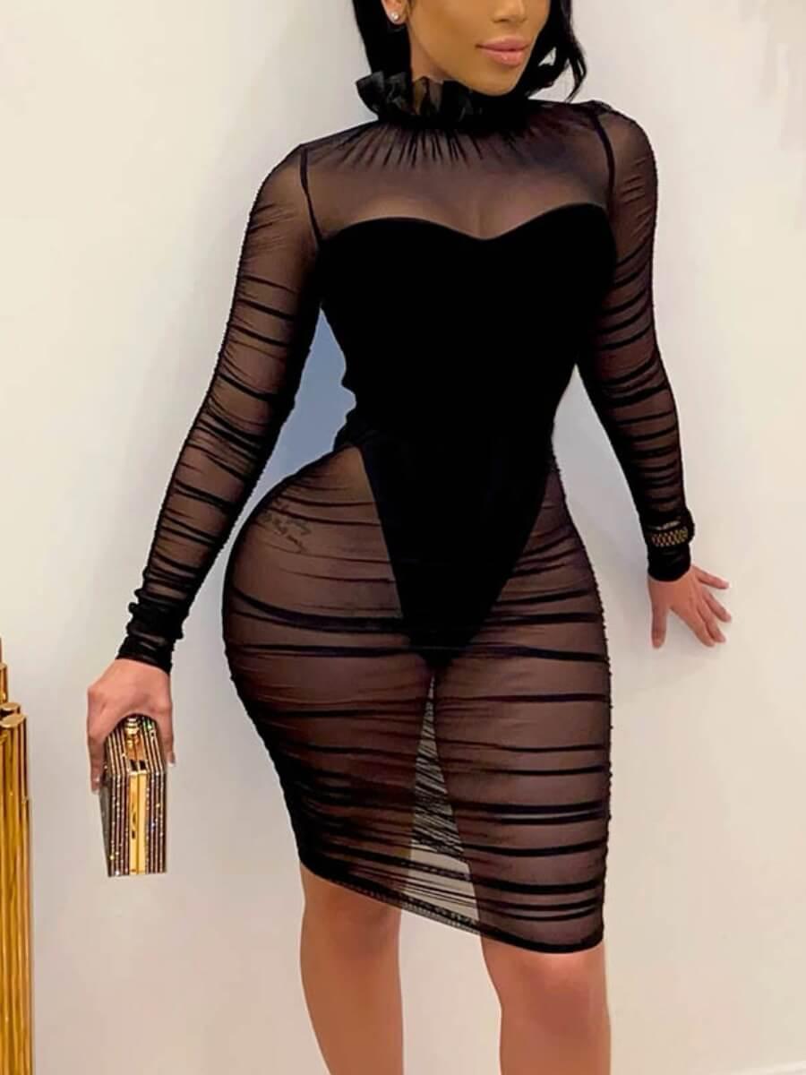 LW SXY  See-through Ruffle Design Patchwork Black Knee Length Dress