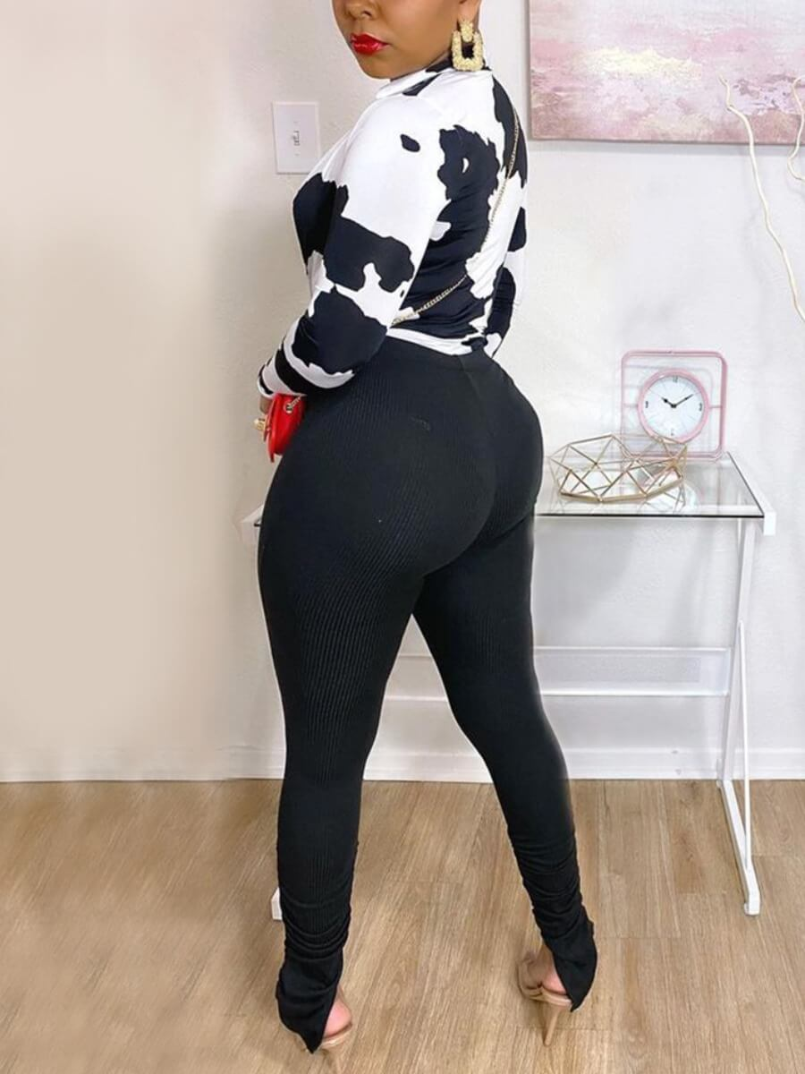 Lovely Casual V Neck Animal Print White Two Piece Pants Set(No-positioning Printing)