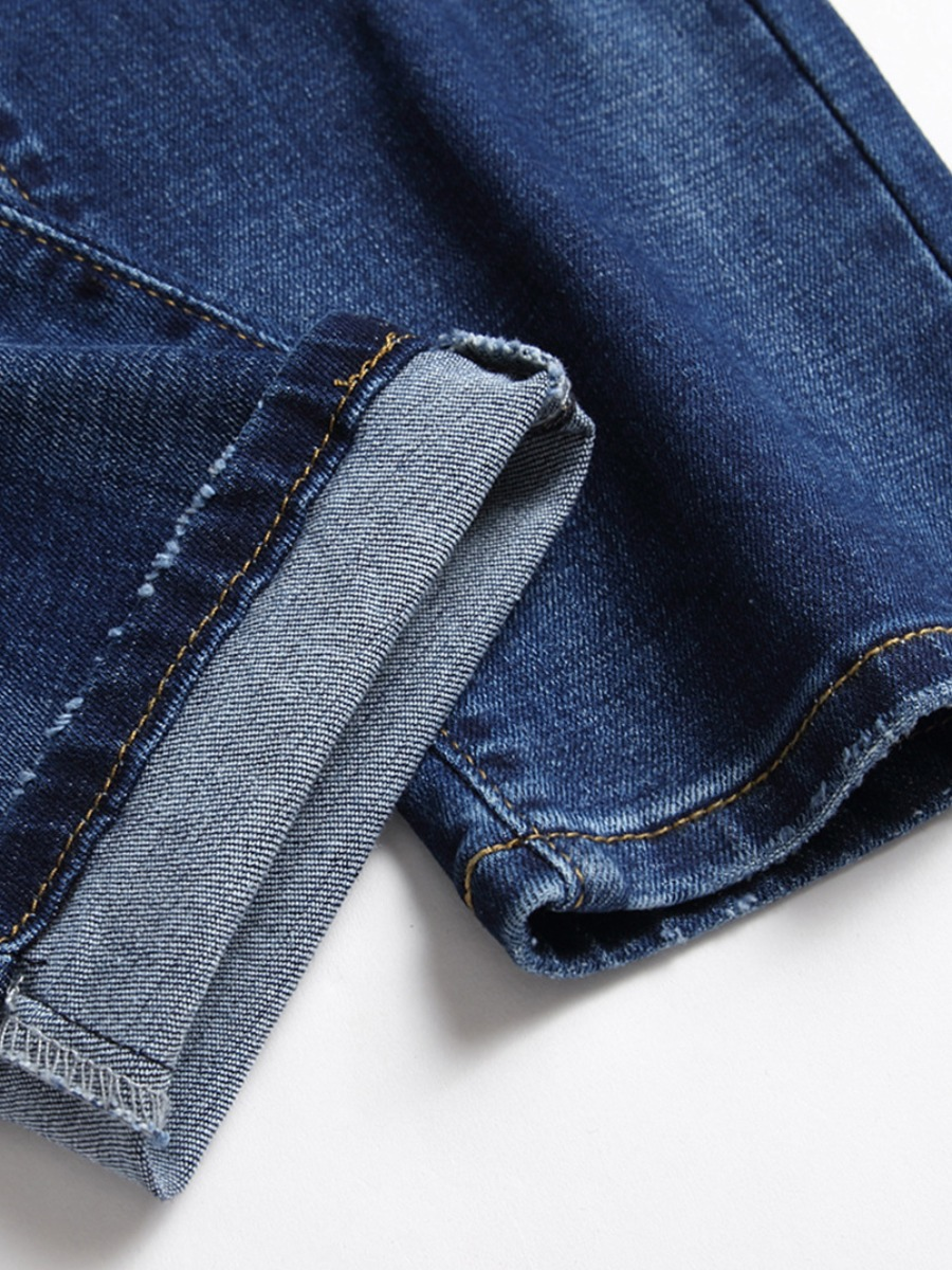 Lovely Men Casual Mid Waist Ripped Deep Blue Jeans