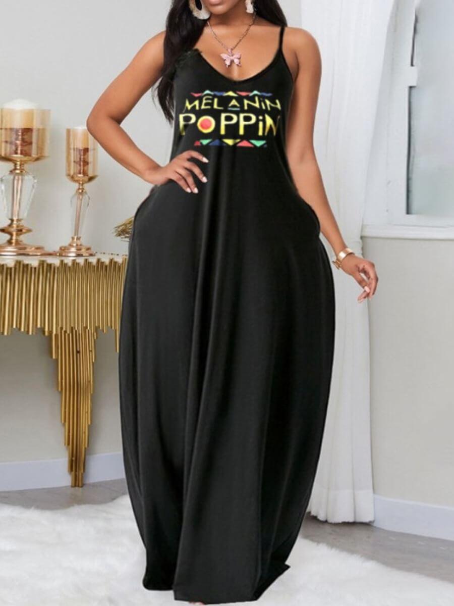 Lovely Leisure Letter Print Black Maxi Plus Size Dress