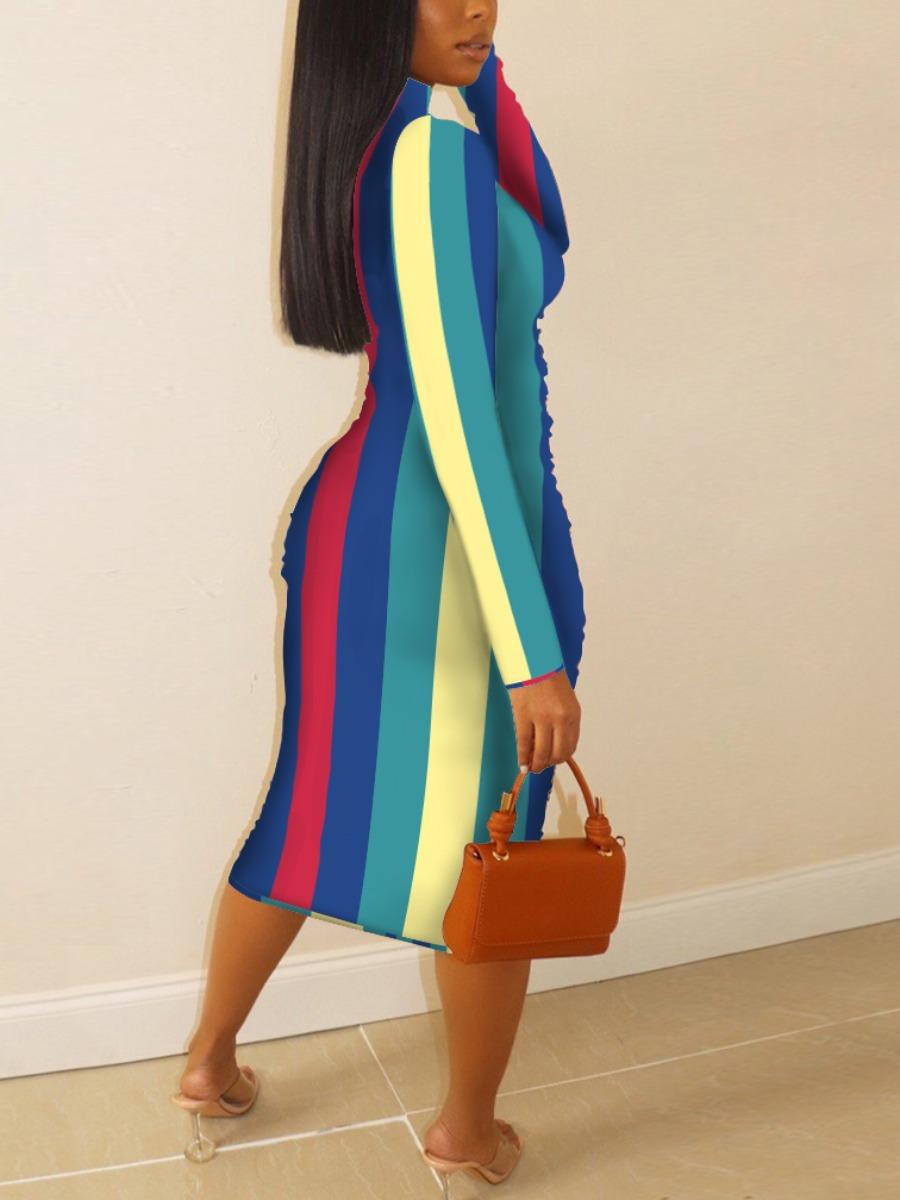 LW Casual Turtleneck Striped Patchwork Multicolor Mid Calf Dress