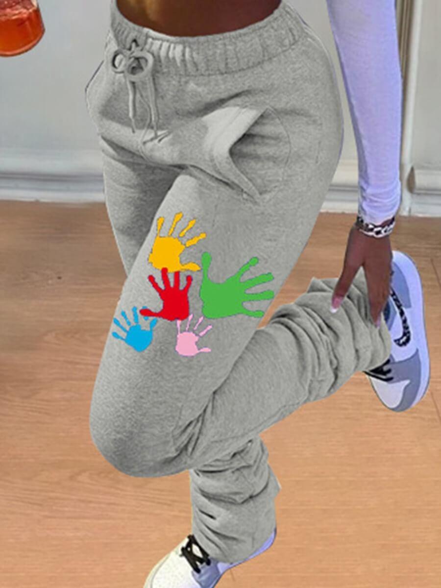 LW Casual Fold Drawstring Design Graffiti Print Light Grey Pants
