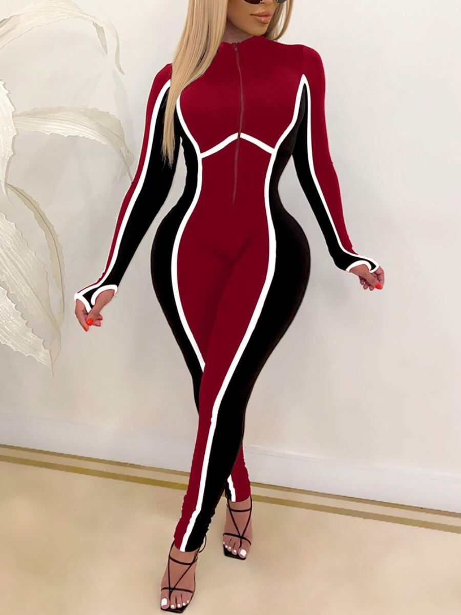 Lovely Casual Color-lump Patchwork Skinny Red One-piece Jumpsuit