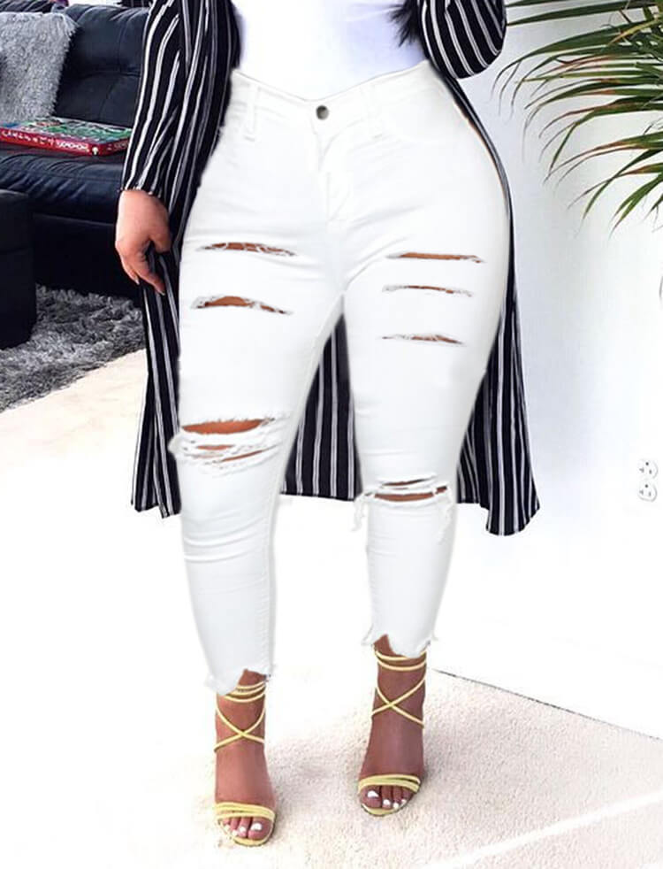 Lovely Casual High-waisted Broken Holes White Jeans