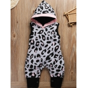 Lovely Casual Hooded Collar Leopard Print Girl One