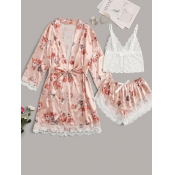 Lovely Home Style Floral Print Lace-up Dusty Pink