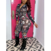 Lovely Street Zipper Letter Print Patchwork Black One-piece Jumpsuit(No-positioning Printing)