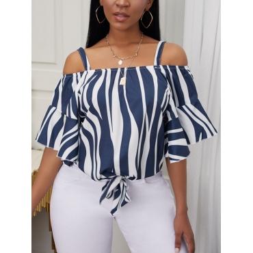 Lovely Formal Off The Shoulder Flared Striped Deep Blue Blouse