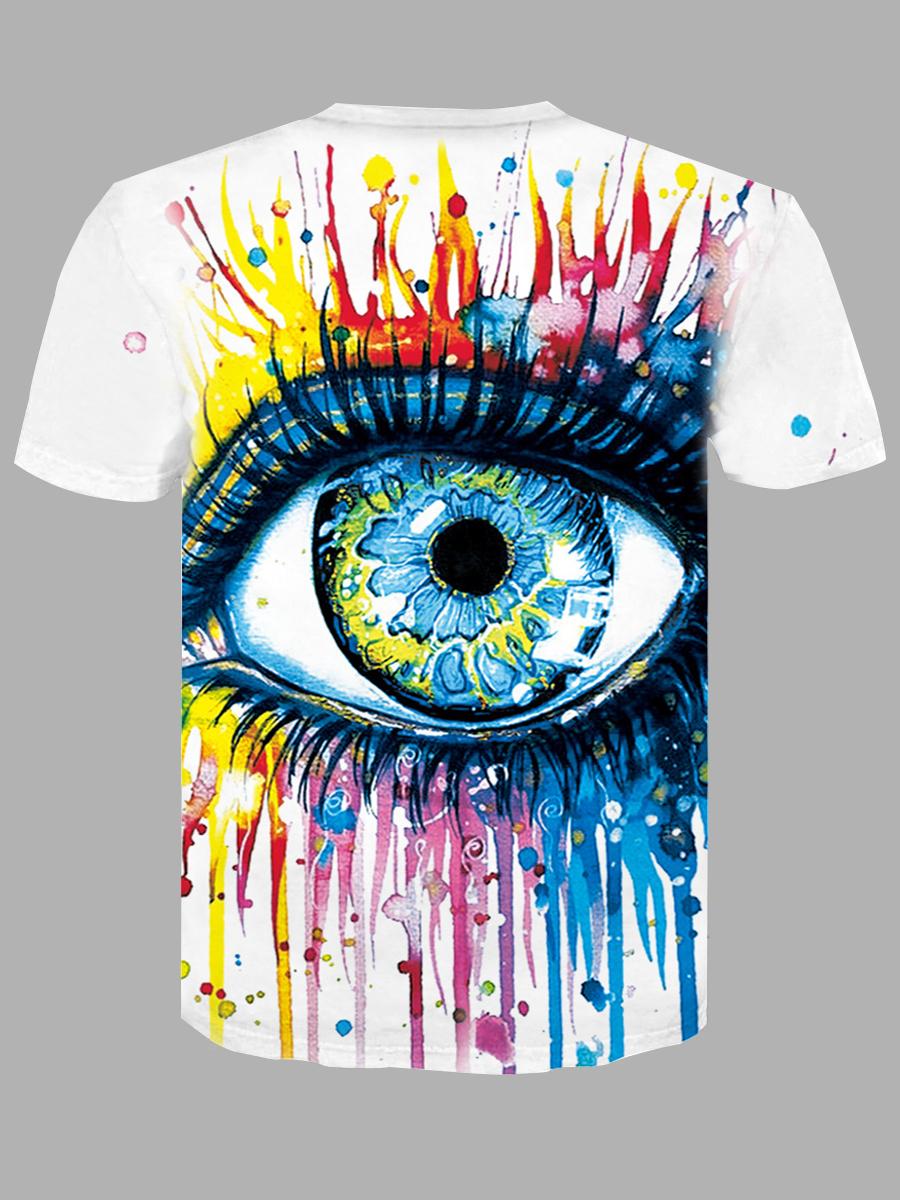 Lovely Men Casual O Neck Eye Print Multicolor T-shirt
