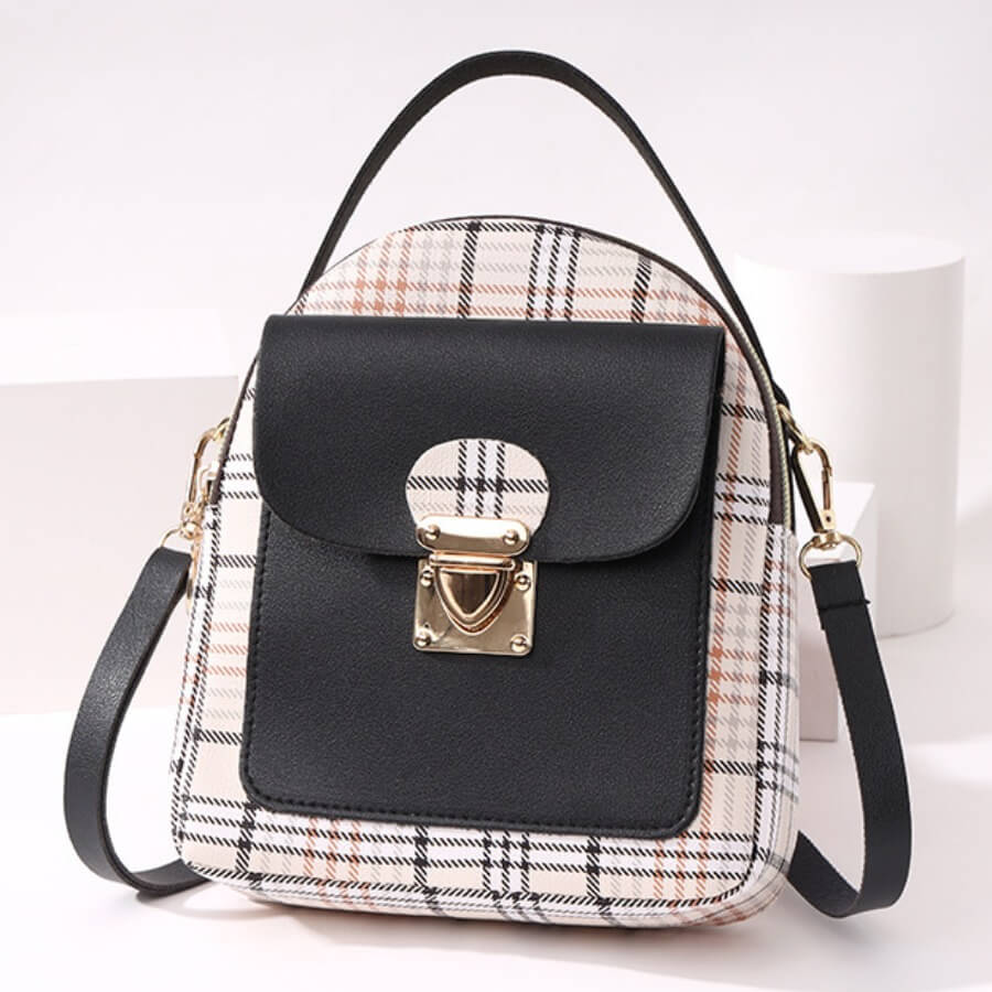Lovely Casual Plaid Print Patchwork Metal Accessories Decoration Black Crossbody Bag