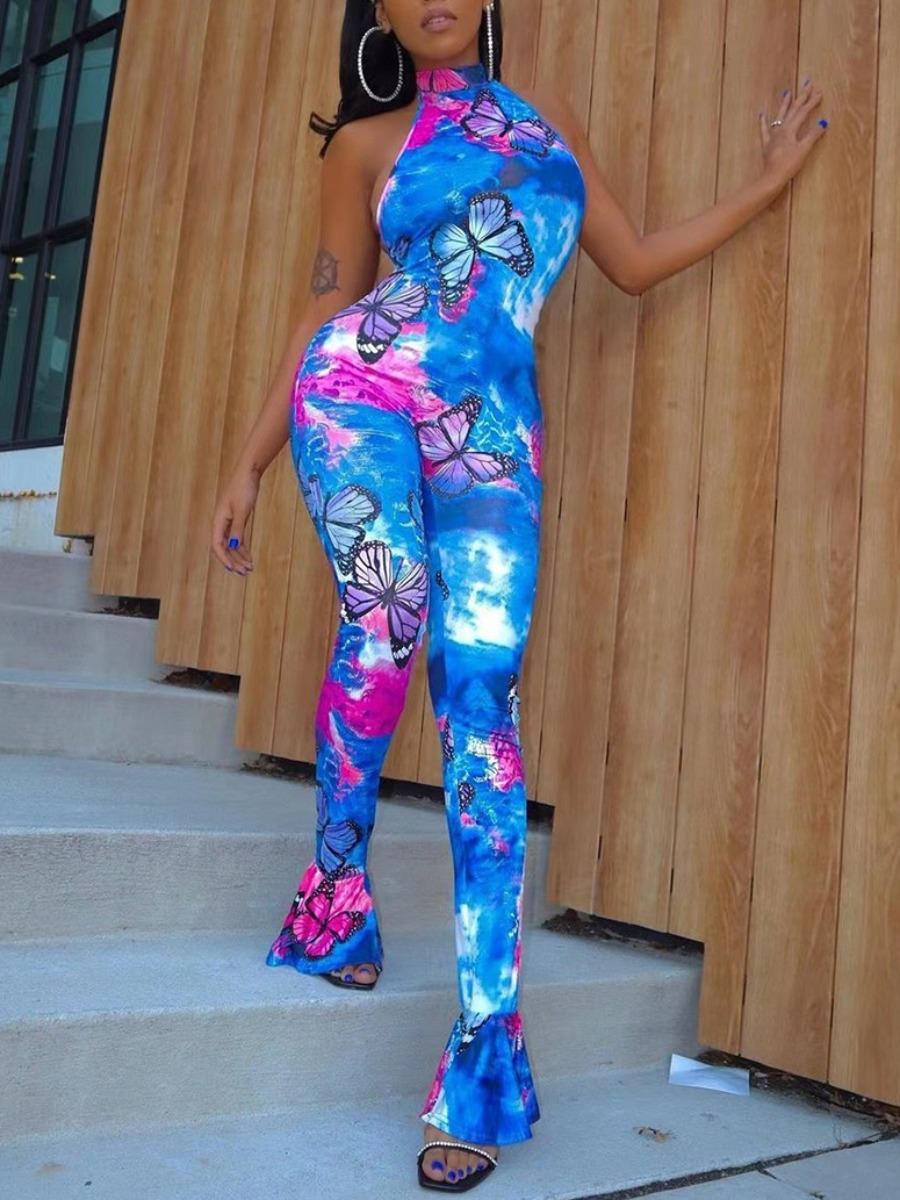 Lovely Chic Turtleneck Butterfly Print Tie-dye Blue One-piece Jumpsuit