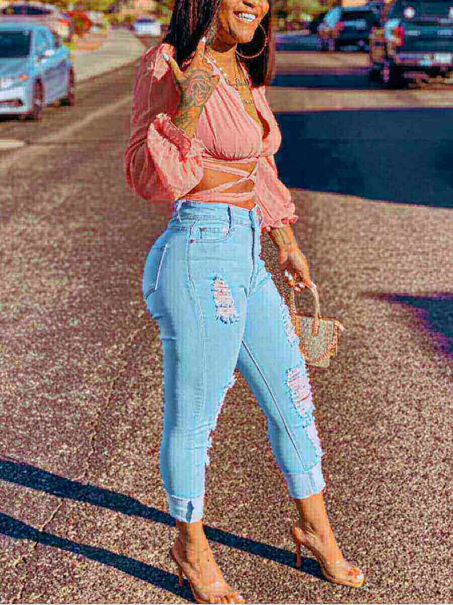 LW Sweet V Neck Bandage Fold Design Pink Blouse