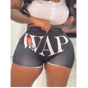 Lovely Sweet Lip Letter Print Black Shorts