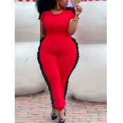 Lovely Casual O Neck Flounce Design Patchwork Red Plus Size One-piece Jumpsuit