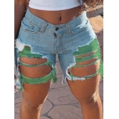 Lovely Casual Patchwork Broken Holes Green Plus Size Denim Shorts