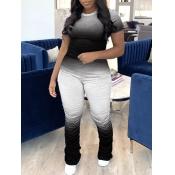 Lovely Casual Gradient Fold Design Black Plus Size One-piece Jumpsuit