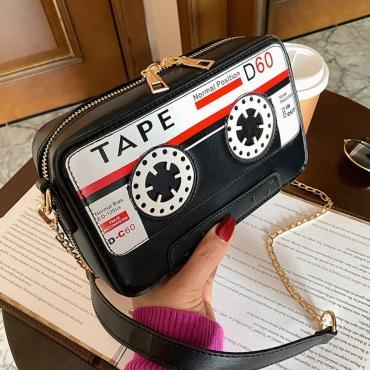 Lovely Chic Tape Print Black Crossbody Bag