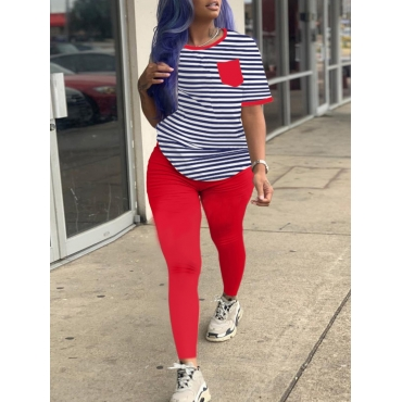 Lovely Casual O Neck Striped Patchwork Red Two Pie