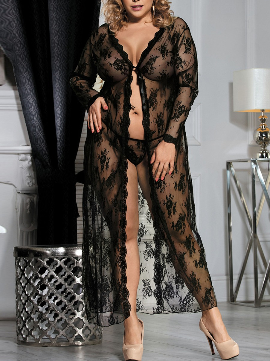 lovelywholesale / LW Lovely Sexy Floral See-through Black Plus Size Gown