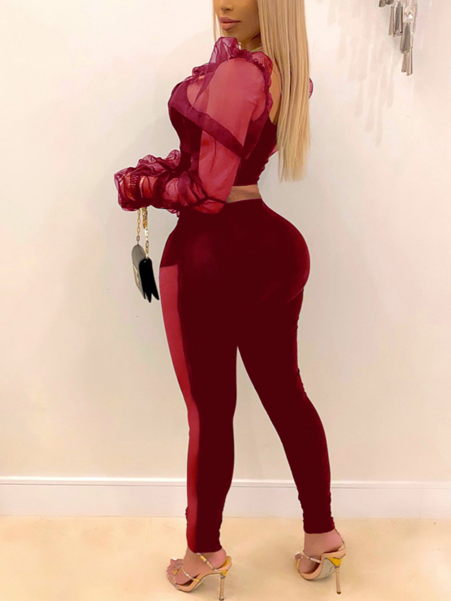 LW Sweet See-through Ruffle Design Wine Red Two Piece Pants Set