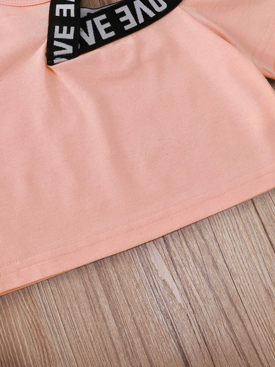 Lovely Girl Sweet Letter Print Hollow-out Pink T-shirt