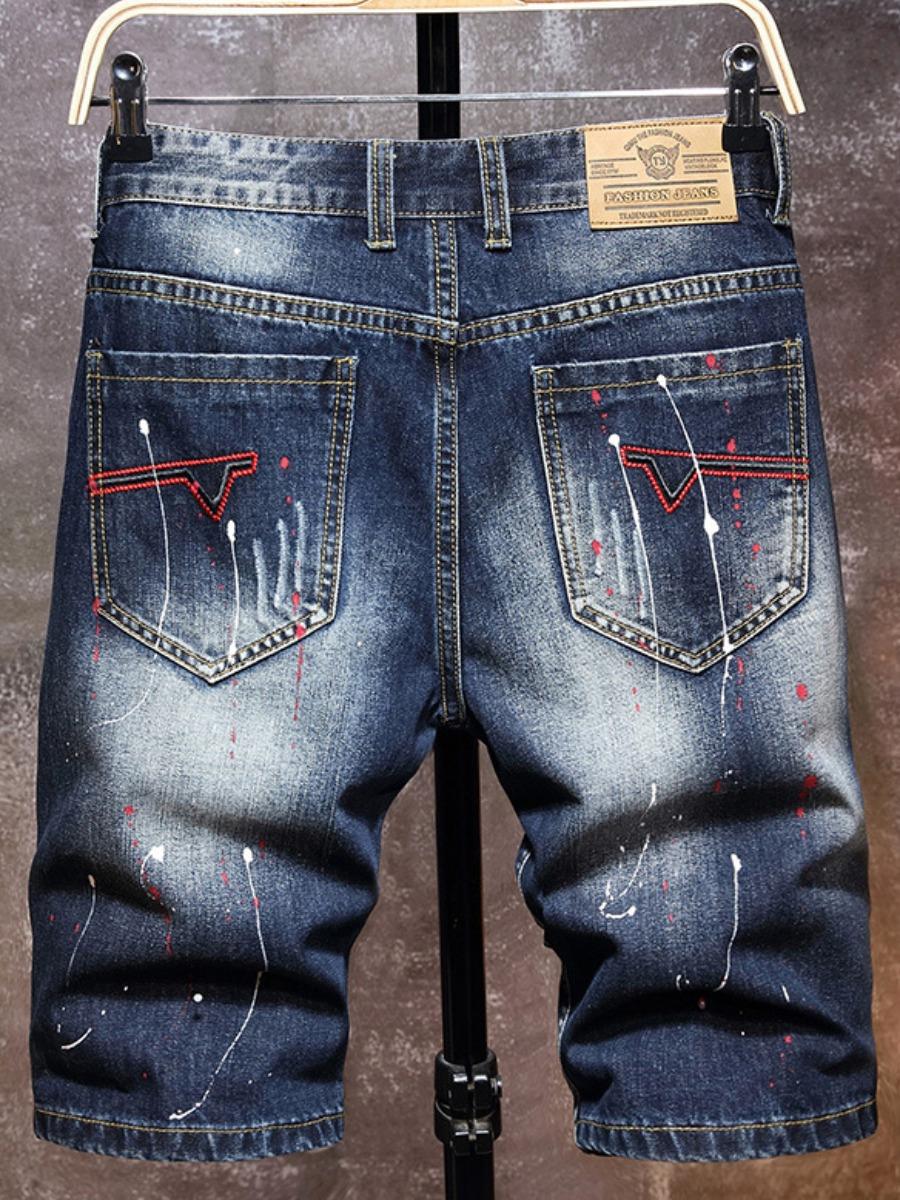 LW Men Street Splash Ink Print Ripped Blue Denim Shorts