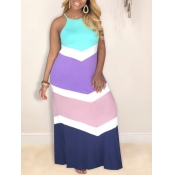 Lovely Casual Color-lump Patchwork Pink Floor Length Plus Size Dress