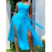 Lovely Stylish One Shoulder Lace-up Split Blue Ankle Length A Line Plus Size Dress