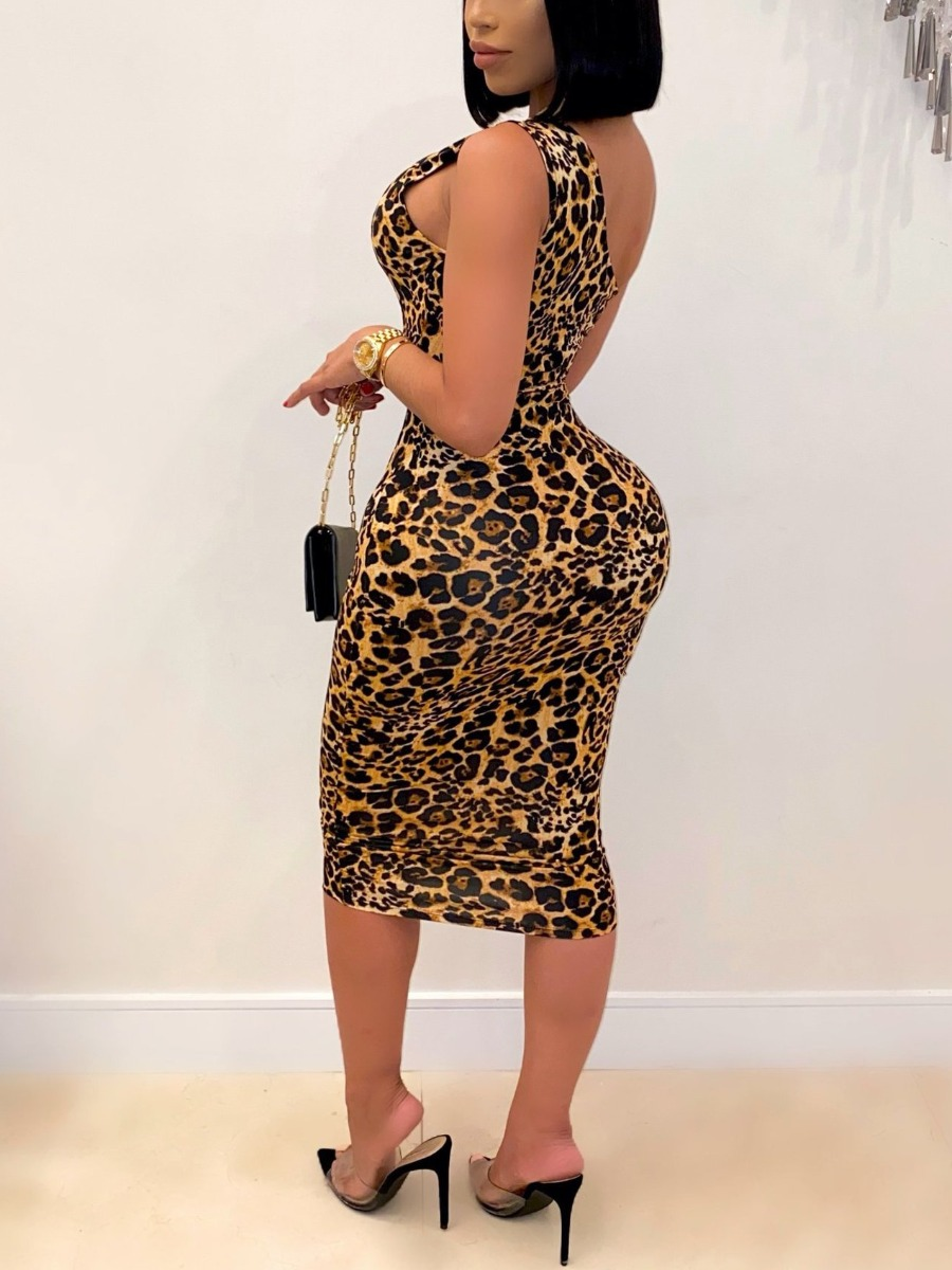 Lovely Sexy One Shoulder Leopard Print Hollow-out Mid Calf Dress