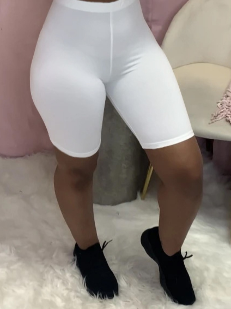 LW BASICS Sporty High-waisted Elastic White Shorts