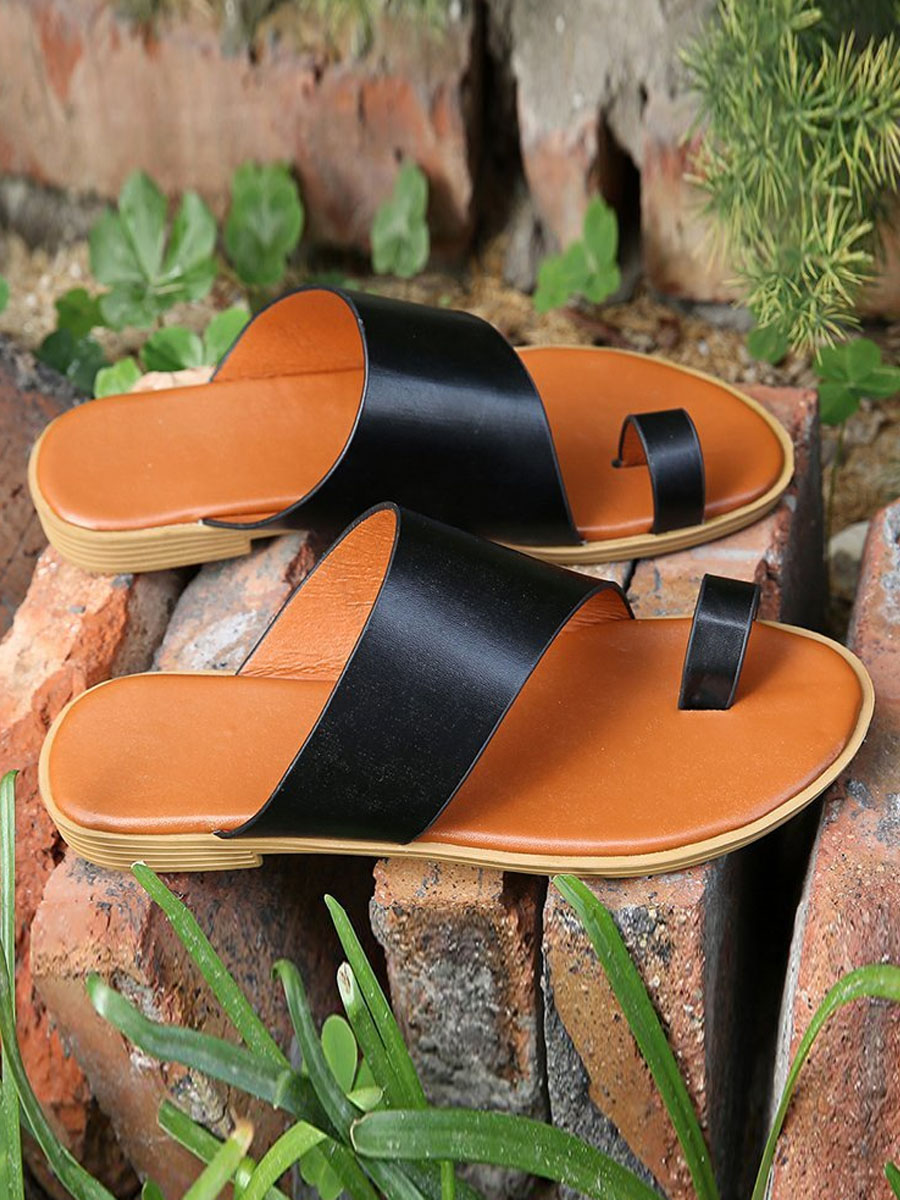 LW Casual Round-toe Black Slippers