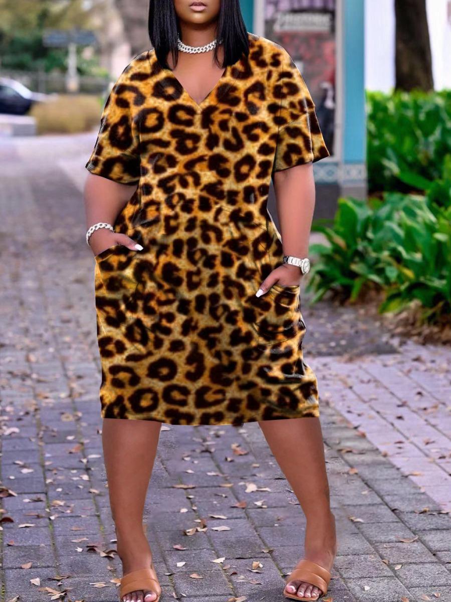 Lovely Casual V Neck Leopard Print Knee Length Dress