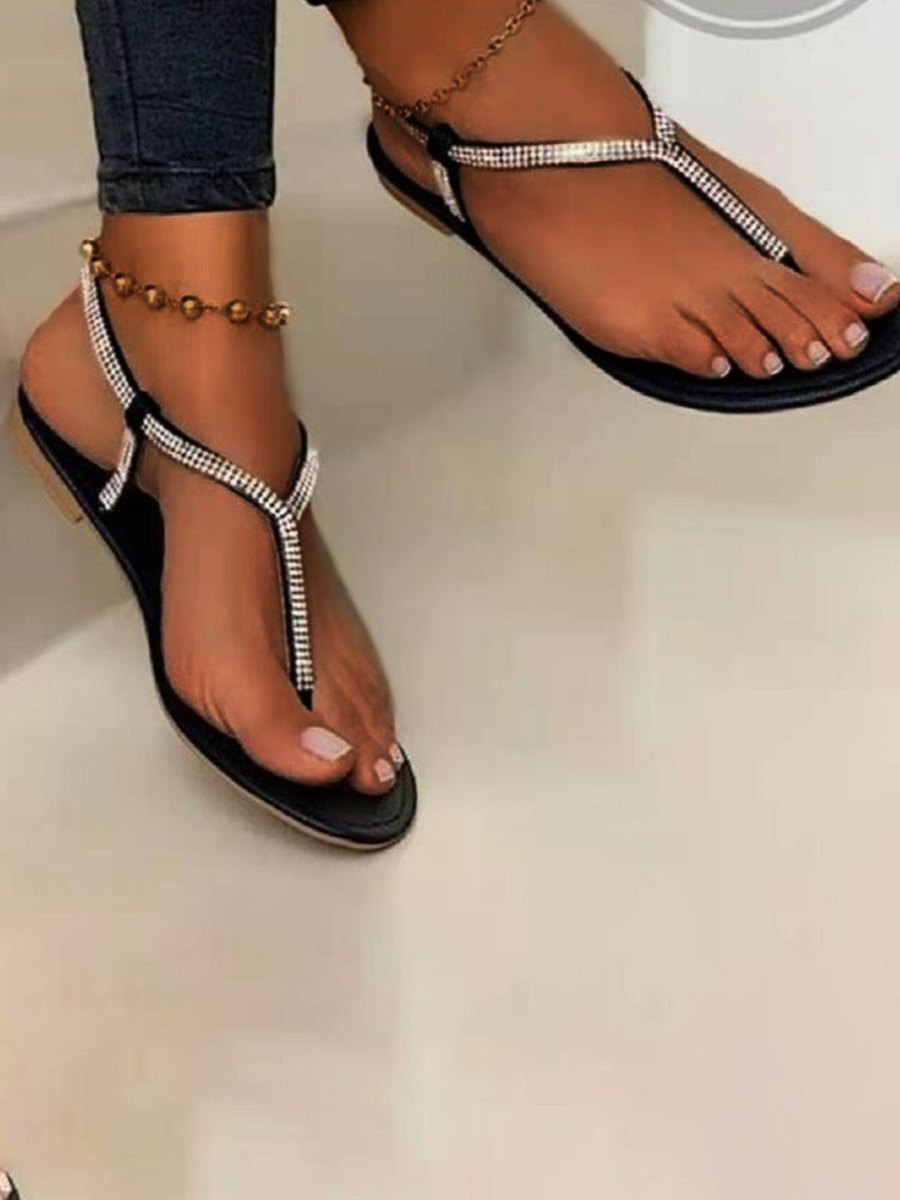 LW Casual Sequined Round-toe Black Sandals