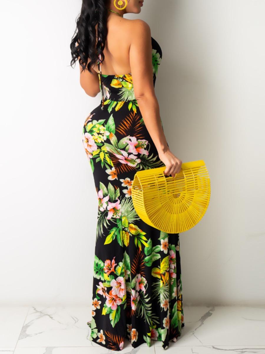 Lovely Boho Floral Print Bandage Design Multicolor Floor Length Dress