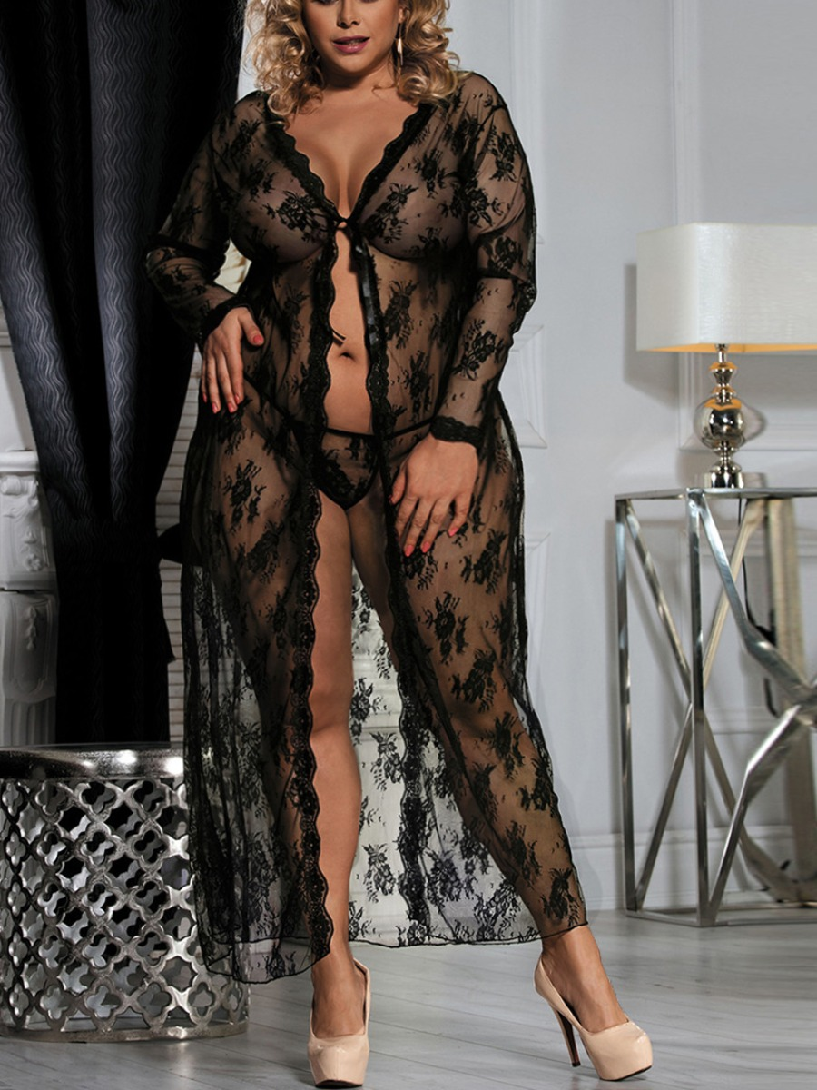 Lovely Plus Size Sexy See-through Floral Decoration Black Gown