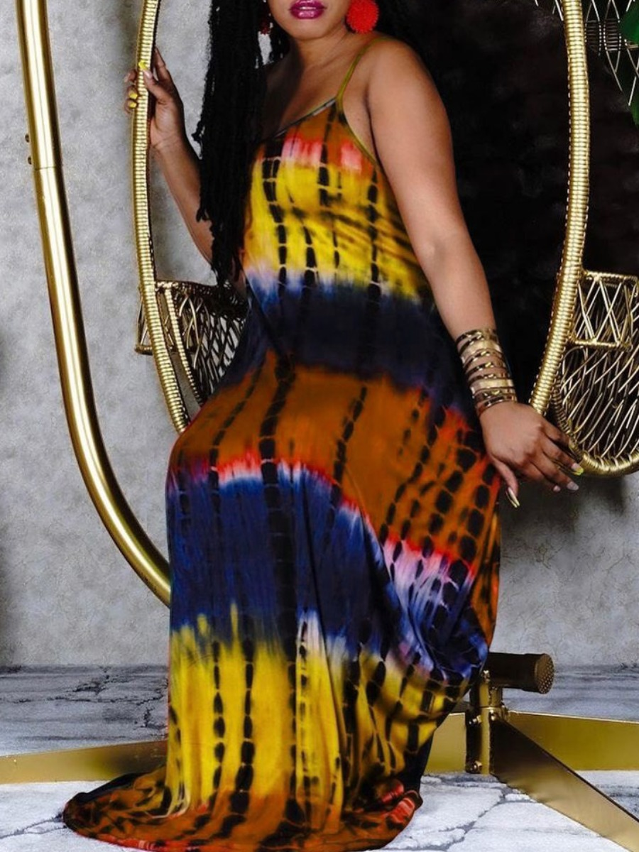 LW Boho U Neck Tie-dye Yellow Floor Length A Line Dress