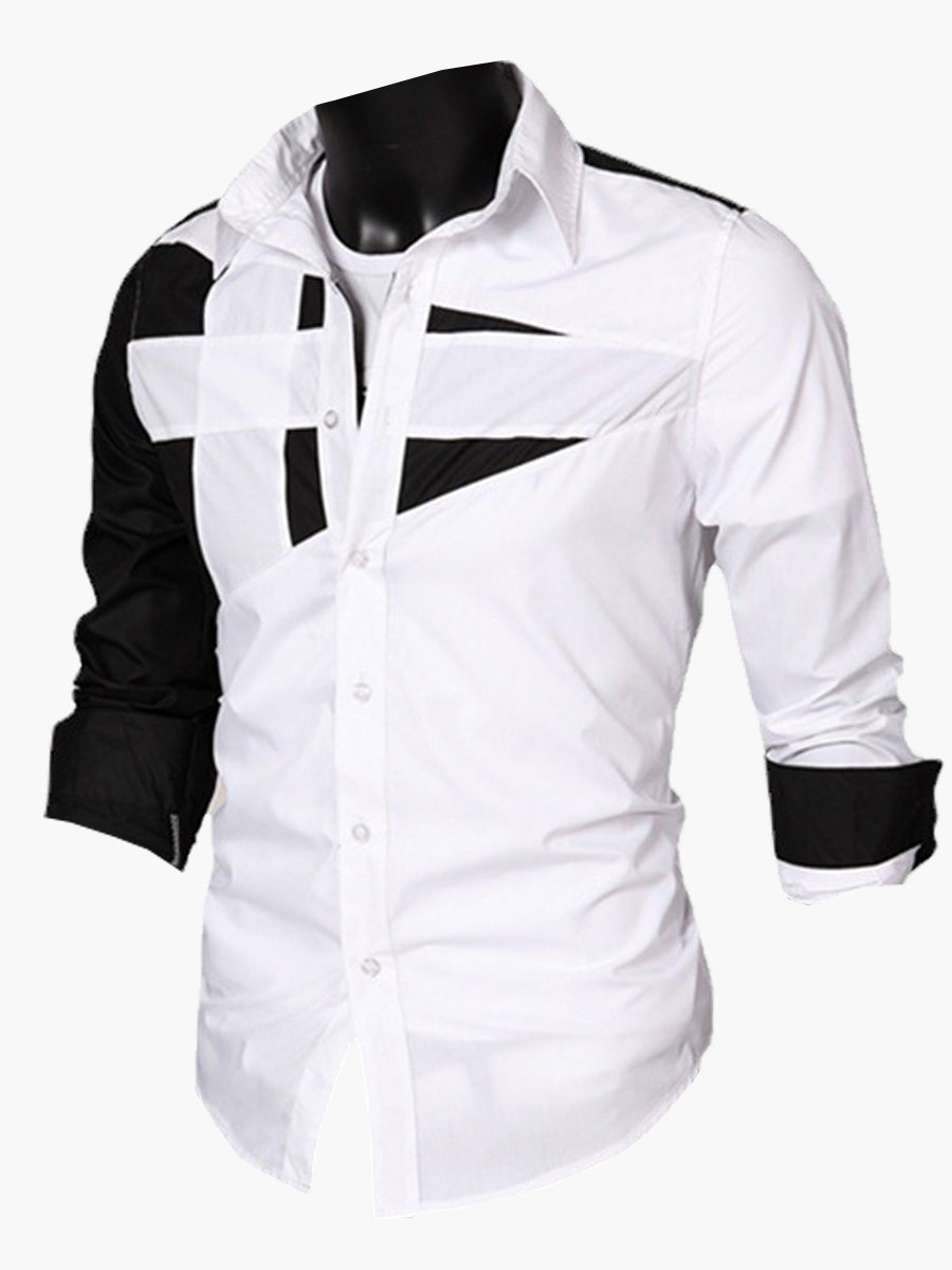 LW Men Color-lump Patchwork White Shirt