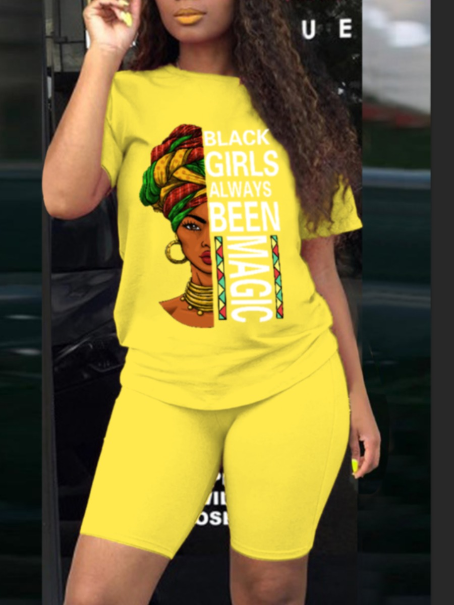 LW Casual O Neck Letter Print Yellow Two Piece Shorts Set
