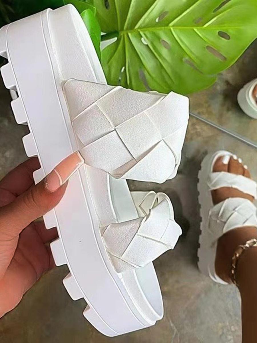 LW Street Bandage Design White Platform Shoes