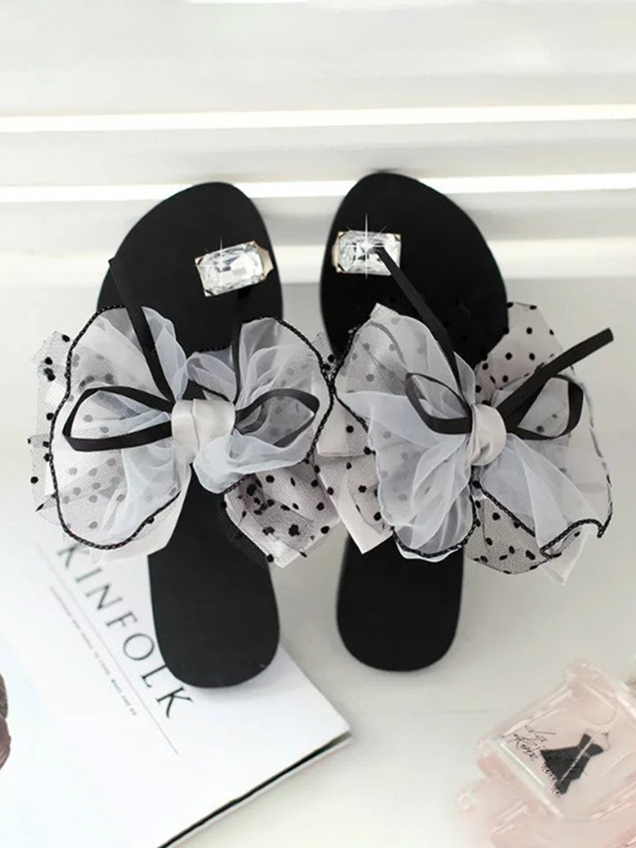 LW Casual Bow-tie Grey Slippers