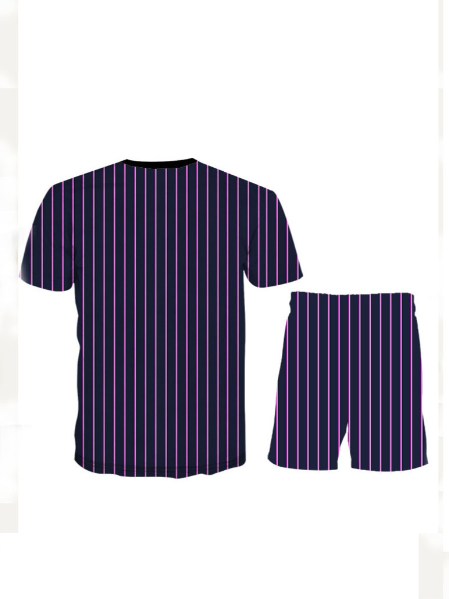 Lovely Polyester Casual Striped Regular sleeve Split joint Regular Short Sleeve O Neck Two-pieces Yes(Elastic) Full Print Two-piece Shorts Set
