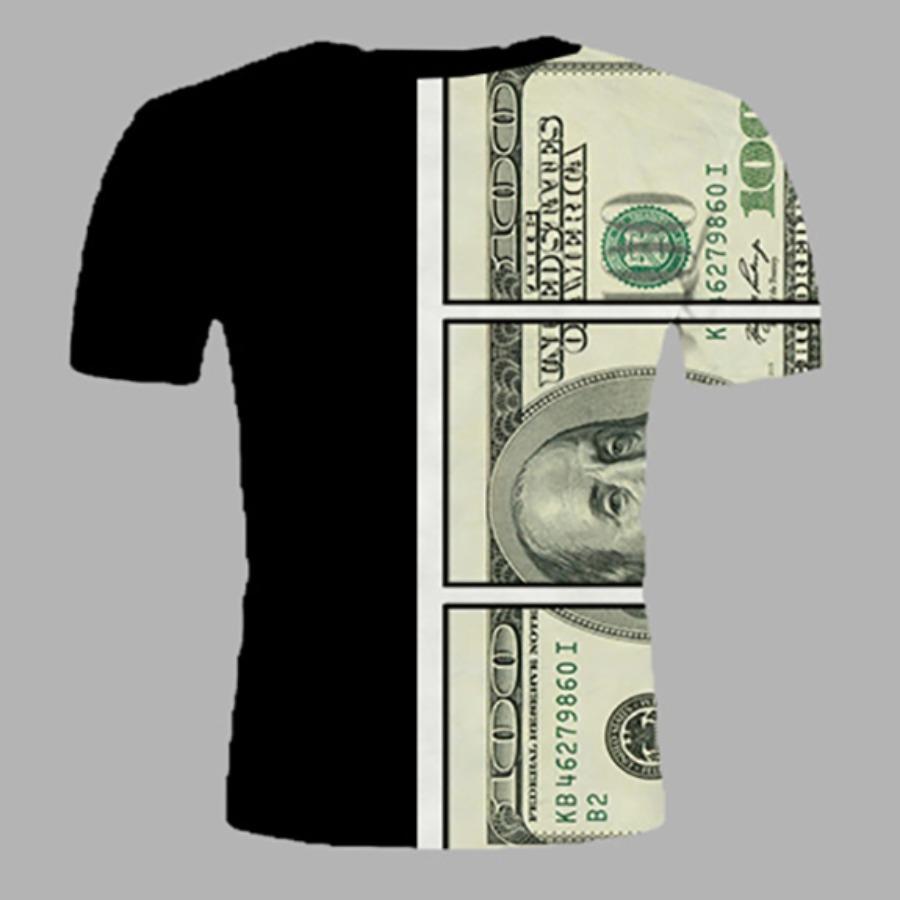 LW Boy Casual O Neck Money Print Black T-shirt